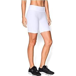 Under Armour Women's HeatGear Authentic Long Shorts, White/Silver, Medium