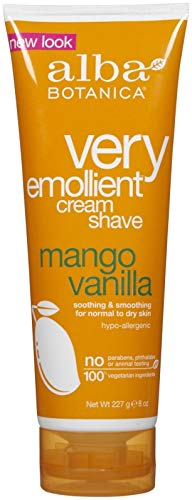 Alba Natural Very Emollient Cream Shave, Mango Vanilla, 8 Ounce (Pack of 2) ()