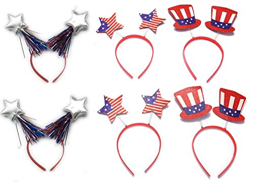 6 Pack Patriotic Head Boppers Headband, 4th of July Decorations - Ideal for Party Favors, Memorial Day BBQ, Fourth of July Parades or Fireworks, or Any Independence Day Event
