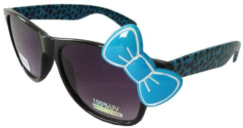 Sanrio Hello Kitty Cheetah Print Style Designer Inspired Wayfarer Sunglasses - Black/Blue with Blue - Ray Print Bans Cheetah