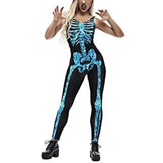 tuonroad 3d digital print ghost skeleton bodysuit black white grey xray bones one piece halloween costume
