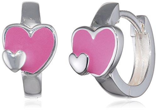 Boucles d'oreilles créoles pour enfant en argent avec motif cœur rose