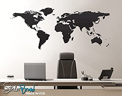 "Stickerbrand© Home & Office Décor Vinyl Wall Art World Map of Earth Wall Decal Sticker - Multiple Colors Available, 21"" x 51"". Easy to Apply & Removable."