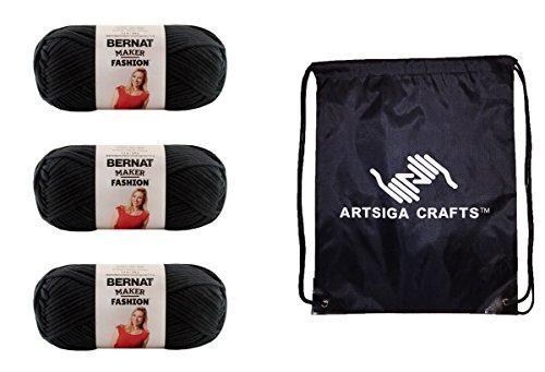 Bernat Maker Fashion Yarn (3-Pack) Black 161206-06002 with 1 Artsiga Crafts Project Bag