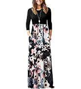 OURS Women's Casual Long Sleeve Maxi Dresses Floral Print Long Maxi Dress with Pockets