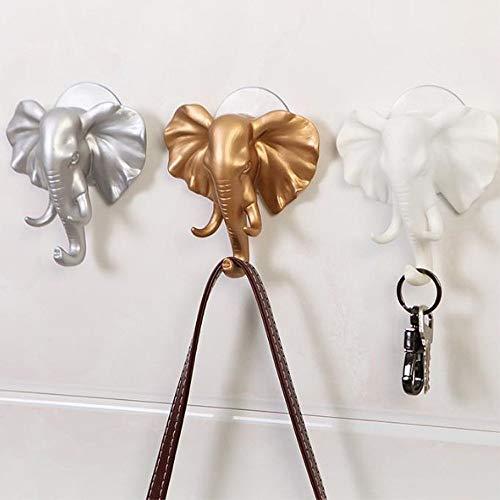 (Elevin(TM) Elephant Head Self Adhesive Wall Door Hook Hanger Bag Keys Sticky Holder)