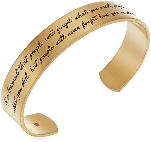 Dogeared Maya Angelou I've Learned That People Will Forget What You Said Medium Engraved Gold Cuff Bracelet
