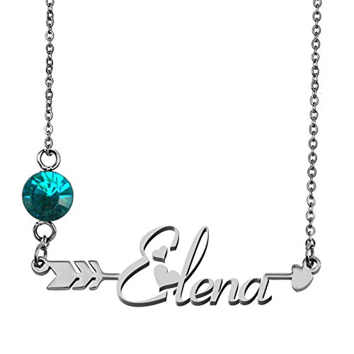 GR859C Personalized Silver Birthstone Pendant Necklace Elena -