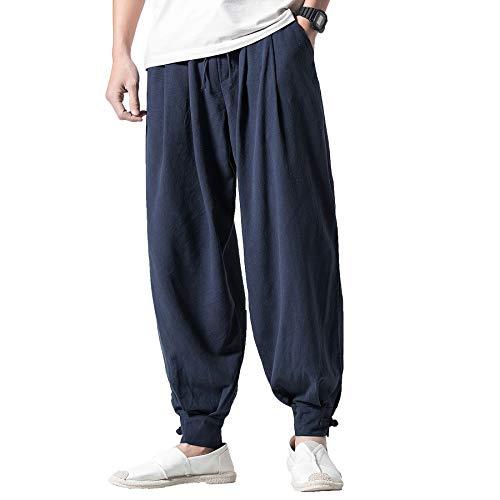 (PRIJOUHE Men's Casual Harem Pants Elastic Waist Loose Wide Leg Cotton Linen Trousers)