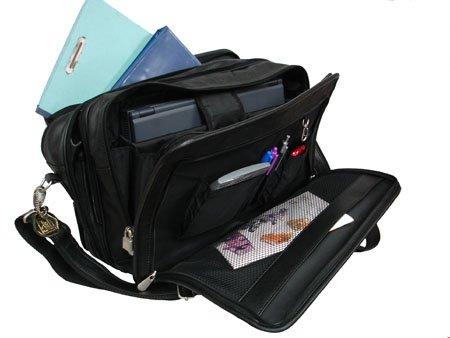 AmeriLeather Leather Expandable Laptop Case (Black)