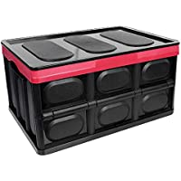 Clever Durable Collapsible Folding Stackable Plastic Crates Storage Container Basket Bins Box with Lids for Outdoor…
