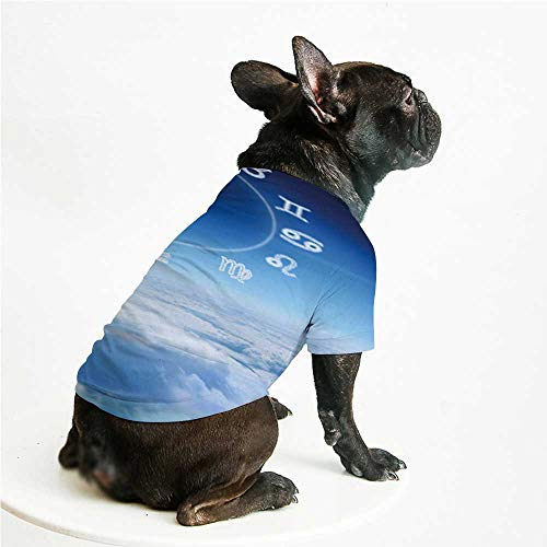 YOLIYANA Astrology Skin Friendly Pet Suit,Zodiac Signs Aquarius Pisces  Aries with Sky Clouds Backdrop Art Print Decorative for Pet Dogs,L