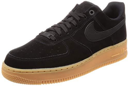 (Nike Mens Air Force 1 07 Suede Low Top Athletic Shoes Black 12 Medium (D))