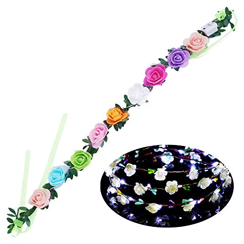 Baulody Solar Flower Outdoor Christmas String Lights 21ft LED Wedding Party Headband Fairy Flower Blossom Decorative Light for Indoor Garden Patio Party Xmas Tree Decorations (Multi-Color) (White)