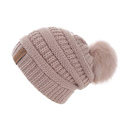 - QUEENFUR Women Knit Slouchy Beanie Chunky Baggy Hat with Faux Fur Pompom Winter Soft Warm Ski Cap (Rose Pink)