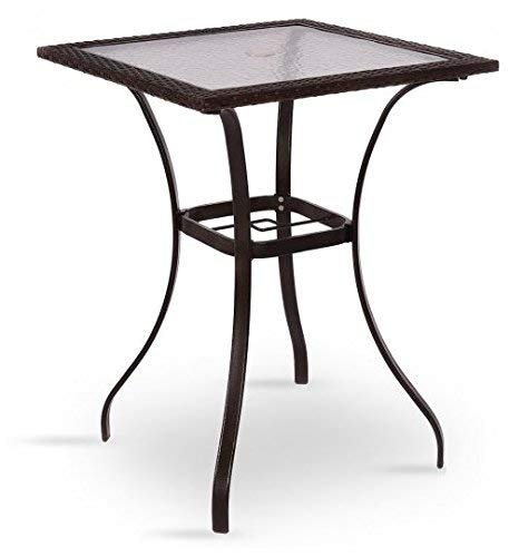 New Wave Modern Cabinet - SKB Family Outdoor Patio Rattan Square Table with Glass Top Garden Table Outdoor Rattan