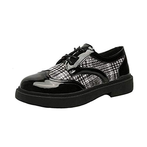 Vintage Oxford Shoes for Women Brogues Shoes Womens Platform Lace-up Wingtip Patent Leather Flat Oxfords from T-JULY