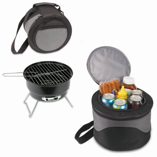 PICNIC TIME Caliente Black and Gray Portable Charcoal BBQ Grill with Tote