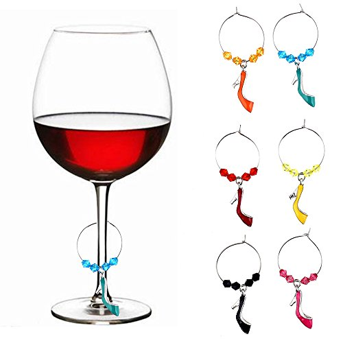 WM-10676A High Heel Shoe Glass Wine Charms Set Of 6 Silver Glass Drink Markers Alloy Slipper Charm Wine Glass Tags For Party -