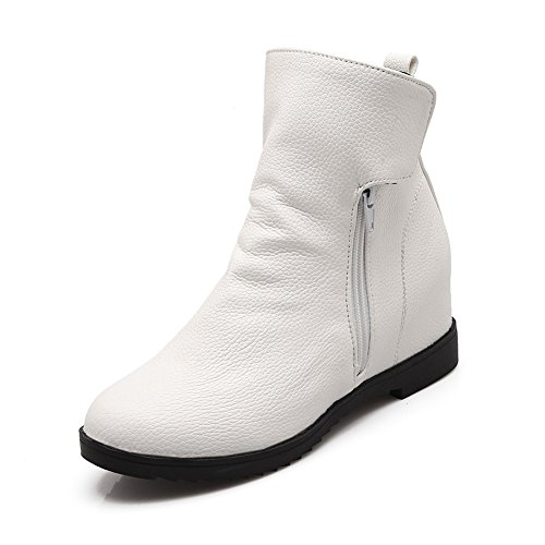 Zipper Heel Lucksender Ankle Arrived Side Boots Womens New White Toe Round Hidden YY7qw8