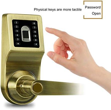 デジタルインテリジェント生体認証指紋ロックキーレススマートドアロックインテリアドア用盗難防止電子ロック-グリーンアプリコット