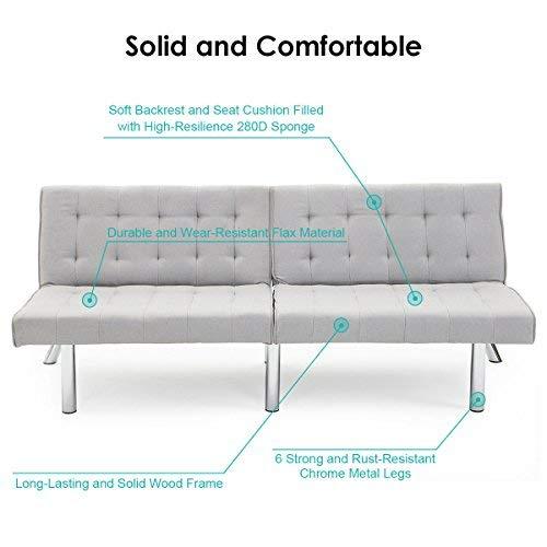 Giantex Futon Sofa Bed Convertible Couch Folding Splitback Recliner Sleeper Lounger Modern with Chrome Legs