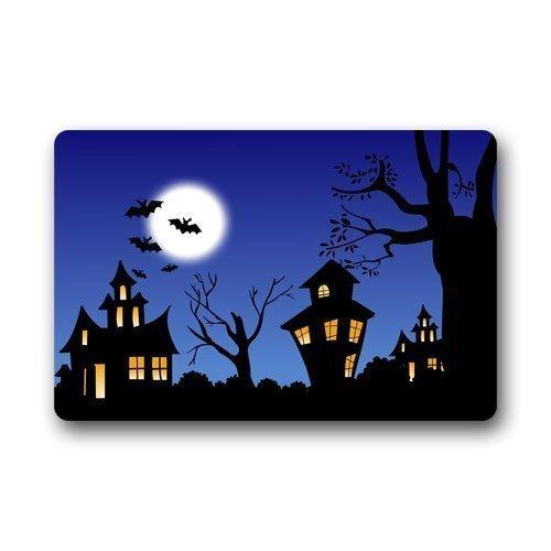 Nick Thoreaufhed Halloween Theme Moon Night Bats Custom Doormat Door Mat Outdoor/Indoor 23.6 by 15.7 -