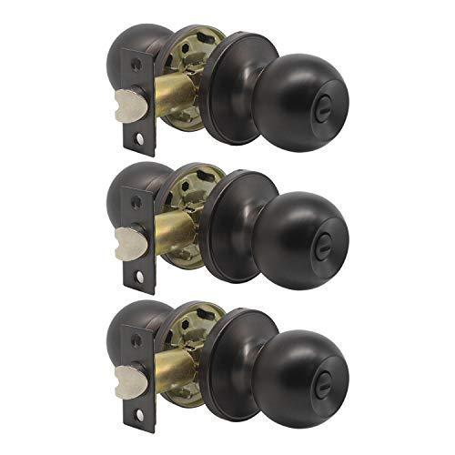 3 Pack Door Hardware Locks/Knobs, Antique Style Door Knob, Privacy Door Knob for Bed/Bath Function Interior Door Use, Oil-Rubbed Bronze, Round Shape