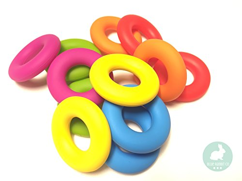Ring Shaped Silicone Bead for Making Toys, Teethers, Bracelets and Jewelry | DIY Sensory, Nursing & Chew Necklaces (80 Rainbow, 12 PC)