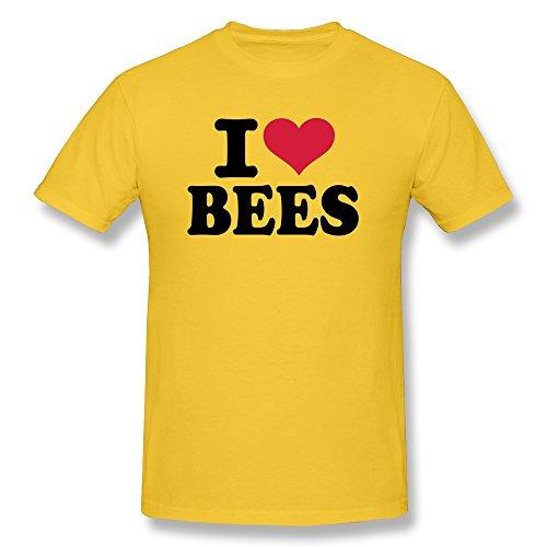 ZWSY Men's Tshirt I Love Bees Size L Yellow