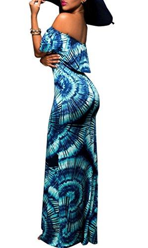 fuori del Maxi di Donna Blu partito Beach Bohemia dalla Dress COMVIP spalla sera ESqRx