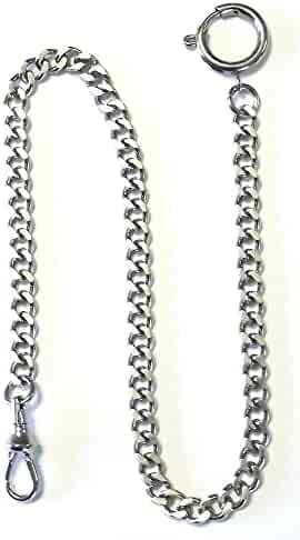 Dueber Silver Tone Chrome Plated Steel Deluxe Sport Pocket Watch Chain