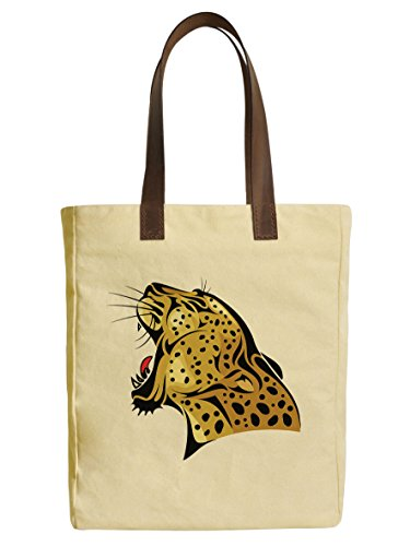 Leopard Printed Leather Tote (Leopard Head Beige Printed Canvas Tote Bags Leather Handles WAS_30)