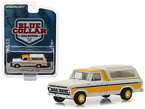 New DIECAST Toys CAR Greenlight 1:64 Blue Collar Collection Series 5-1977 Ford F-100 with Camper Shell (White/Yellow) 35120-D