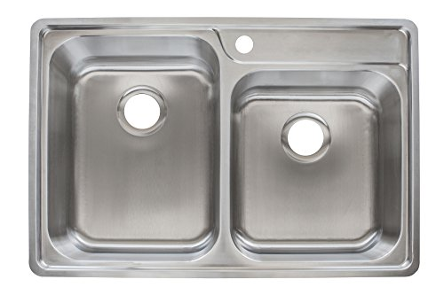 Offset Double Bowl Kitchen Sink - Franke EVCAG901-18 Top Mount Offset Double Bowl 1-Hole Kitchen Sink, 18 gallon, Stainless Steel