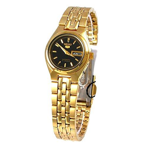 Seiko Women's SYMA06K Seiko 5 Automatic Black Dial Gold-Tone Stainless Steel Watch