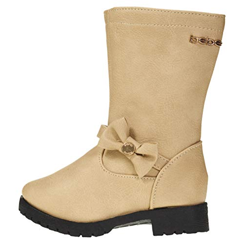 bebe Toddler Girls Riding Boots Size 9 with Side Bow Slip-On Low-Heel Fashion PU Shoes Tan