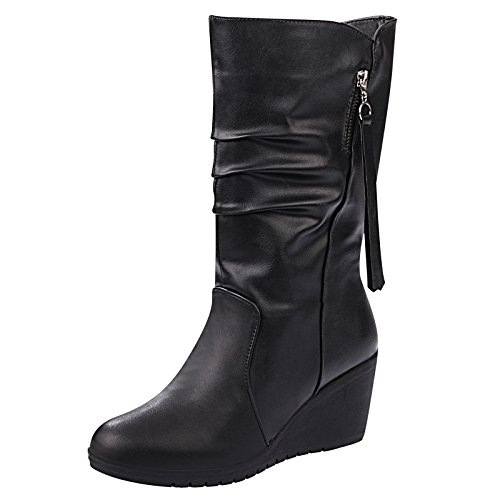 KHSKX-Warm Autumn And Winter Snow Boots With Slope In Tube Side Of Black Boots Warm Black Female Single Paragraph Code Thirty-five 6AiAzkqHgZ