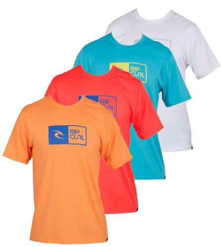 Rip Curl Youth Ripawatu Short Sleeve Rash Guard Surf Shirt, 4, Red