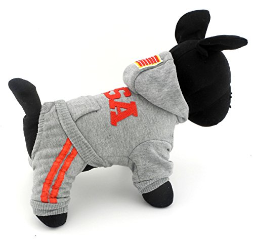 SELMAI USA Dog Jumpsuit Four-leg Pet Hoodies Puppy Coat Doggie Jacket Warm Clothes with Pants for Small Dogs Gray M (Base Jumper Raincoat Camo)