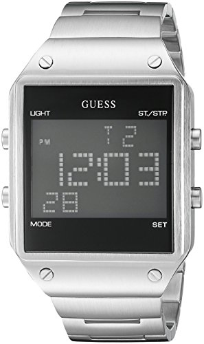 GUESS Men's U0596G1 Digital Display Silver-Tone Watch with Alarm, Dual Time Zone & Chronograph / Stop Watch Functions (Dual Time Stopwatch)