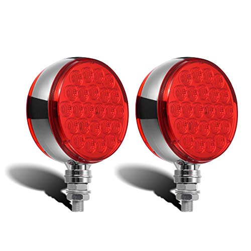 Partsam 2pcs Round Double Face Red 48 LED Pedestal Fender Stop Turn Signal Tail Brake Lights Post Mount, Dual-face Trailer Light for Kenworth Peterbilt Freightliner Western Star Volvo ()