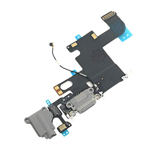 (Charging Port USB Connector Dock Headphone Jack Flex Cable Replacment for iPhone 6 (Black))
