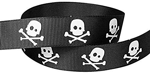 Q-YO Halloween Grosgrain or Satin Fabric Ribbon for Holiday Pirate Party Decoration, Hair Bow Accessory, Scrapbook, Match Your Costumes (10yd or 2x5yd 3/8 Inch Skull Cross Bone, Black/White) ()
