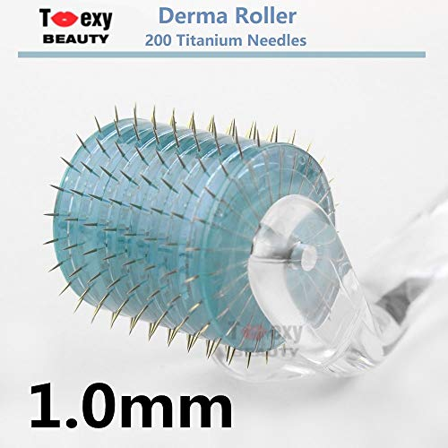Toexy Beauty 200-Pin Titanium Facial Body Skin Care Massage Roller Beauty Tool (1.0-for deep wrinkles, scars, stretch marks) ()