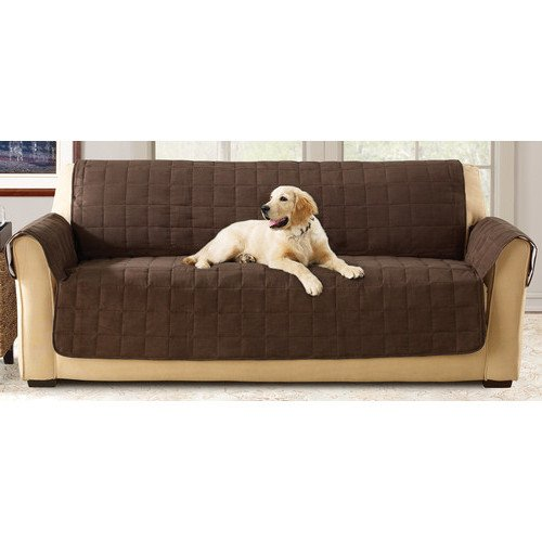 70 X 37 Inch Chocolate Solid Color Loveseat Cover, Dark Brown Furniture Protector From Pets Children Relaxed Fit T-cushion Waterproof Quilted Textured Elegant, Polyester