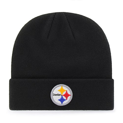 (OTS NFL Youth  Pittsburgh Steelers Raised Cuff Knit Cap, Youth , Black)