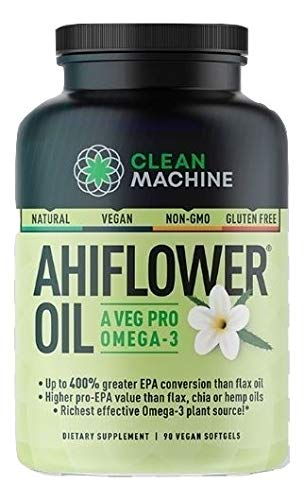 Clean Machine Ahiflower Oil, Vegan Plant Based Omega-3, Natural Ahi Flower, Non-GMO Gluten-Free - 90 Capsules
