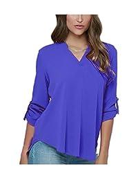 ARJOSA Women's Chiffon Deep V Neck Roll Up 3/4 Sleeve Blouse Tunic Shirt Top