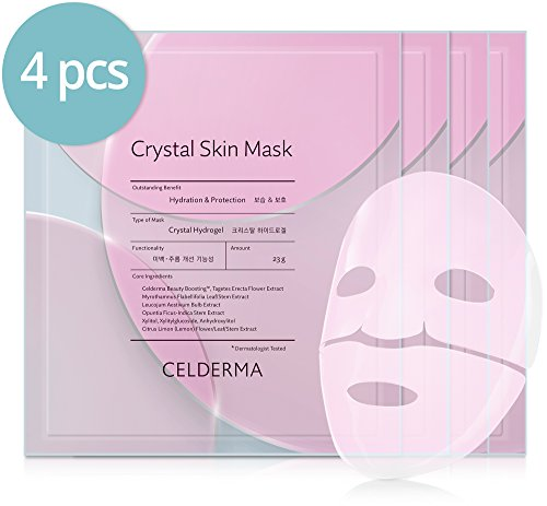 Derma E Facial Mask - CELDERMA Korean Sheet Mask Pack (4 Sheets) Crystal Hydrogel Skin Mask, Clear Transparent Facial Mask for Hydration and Protection